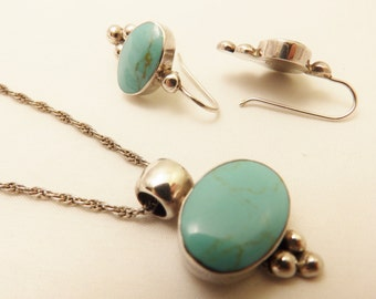 Sterling Silver Mexico  Turquoise Necklace and Earring Jewelry Set
