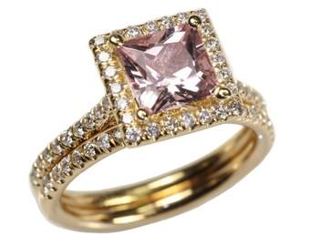 1.87 cttw 18K Yellow Gold Princess Morganite Diamond Bridal Set