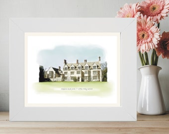 Framed Wedding Venue Portrait - Digital Illustration of Wedding Venue - Transformed From Your Photo