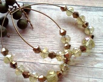 Crystal Hoops,  Gold and Crystal Hoops, Handmade Hoop Earrings, Fall Earrings, Oval Hoop Earrings, Champagne Crystal Earrings, Gift under 10