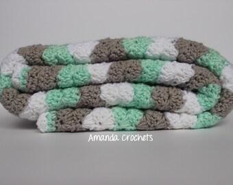 Crochet Baby Blanket | Mint, White, Gray Blanket | Shell Wavy Blanket | Baby Boy Girl Blanket | Baby Shower Gift | Crochet Blanket | Bedding