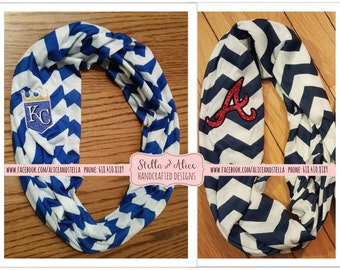 Baseball Infinity Scarves - Knit Scarves - Red Sox, Cubs, Tigers, Royals, Dodgers, Mets, Yankees, Giants, etc. ---Support your FAVORITE Team