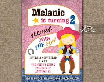 Cowgirl Birthday Invitation - 2nd Birthday Invitations - Girls 2nd Birthday Party Invites - Printable Two Year Old Cowgirl Invitation CWG1