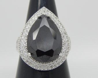 Black Onyx Ring  , Black Stone Ring  , Black Sterling Silver Ring , Onyx Gemstone Ring , Finger size is 7.5