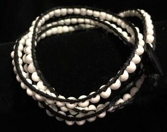 Beaded wrap bracelet, white 20
