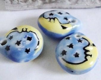 3  Moon Ceramic beads