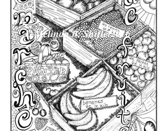 Le Marché de Fruits coloring page