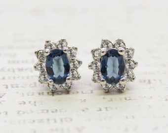 Vintage Sapphire Crystal Earrings, Sapphire Earrings, Dainty Sapphire Posts Made in the USA #E1291