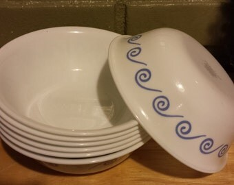 Corelle Ocean View Cereal Bowls - Lot of 7