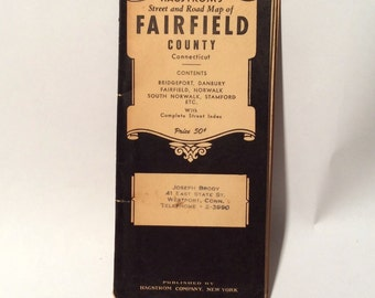 Vintage 1940s Fairfield County CT Hagstrom foldout Roadmap, Perfect for crafting or framing