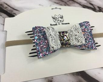 Purple rain double bow head band