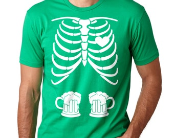 Skeleton Beer Mugs St. Patrick's Day Party Tee Shirt Shamrock Clover Pub Tee Shirt