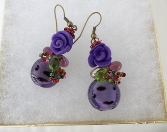 Vintique Bauble Earings Unusual Earrings Fimo Earrings Cute Earings Whimsical Earrings Artist Earrings Wire Wrapped Purple Flower Earrings