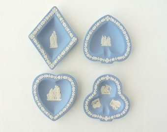 Vintage Wedgwood Bridge Set, Blue and White Jasperware Mini Plates, Card Suit Suite, Full Set Diamond Heart Club Spade, Trinket Dishes