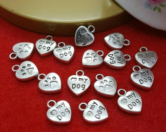 30 Love my Dog Charms 10 x13 mm, Animal Charms, Pet Charms, Heart Charms, Charm Findings, Jewelry Supplies, Ships from Florida U.S.