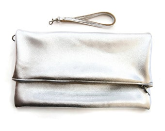Silver leather clutch purse // metallic clutch // wristlet in your choice of silver, gold or rose gold