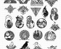 Vintage Birds Clip Art 22 Printable Instant Download Black and white
