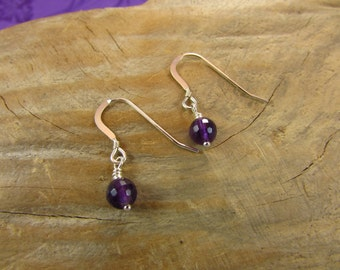 Genuine Amethyst and Sterling Silver Earrings, February Birthstone Earrings, Purple Earrings, Amethyst Earrings, Handmade Earrings