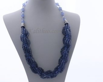 ON SALE -  Free Shipping AU - Statement Necklace - Mothers Day Gift -  Ocean Waves -  Beaded Necklace - Ktc- 277