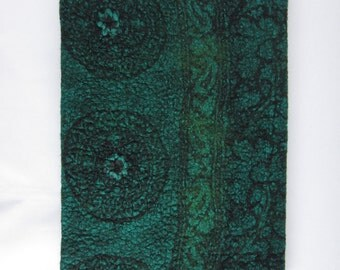 Large green and black nuno felted, removable, A4 book / journal cover