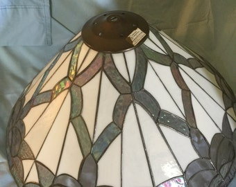Vintage large stain glass light shade