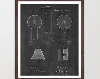 Tesla Transformer Patent - Tesla Poster - Tesla Electric Cars - Tesla Patent - Nikola Tesla - Patent Print - Tesla Patent Poster - Tesla Art