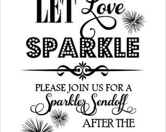 Handmade Printable 8x 10 Sparkler Sendoff Sign