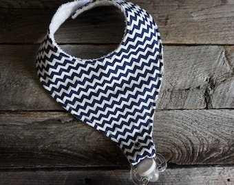Pacifier Bib-Binky Bib-Navy and White Chevron