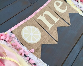 Pink Lemonade One  First Birthday Party Decorations Burlap Bunting Banner Sign, for Cake Smash Highchair Decoration, or Baby Girl Photo Prop