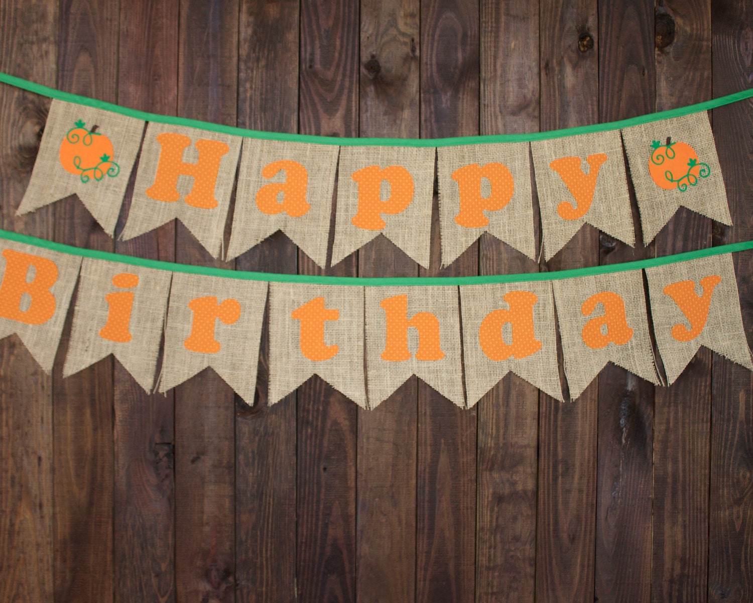 Pumpkin Patch Happy Birthday Pennant Banner for Fall First