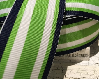 "1.5"" Nautical PREPPY STRIPE Navy Lime GREEN and White Grosgrain Ribbon sold by the yard"
