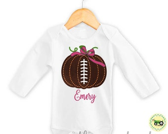 Girls Football Pumpkin Shirt or Bodysuit for Halloween or Thanksgiving Outfit Add a Name for Free