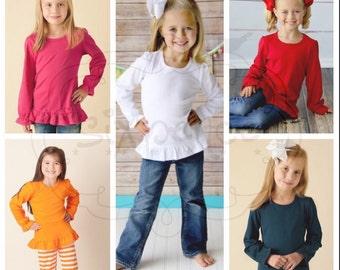 UPGRADE | Girl's Long Sleeve Ruffle Shirt | Colored Shirt | Ruffle Shirt Upgrade | Purchase Must Accompany A Sixpence Design | NOT A BLANK