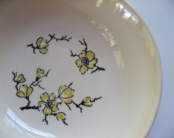 Stetson-Marcrest Dixie Dogwood bowl. Yellow flowers and branches. Cereal bowl mid century.