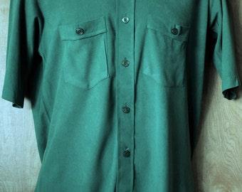 Men's Vintage Short Sleeve Dress Shirt