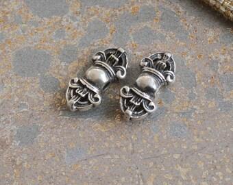 Sterling Silver Mala Counter Beads,Tibetan Prayer Mala Beads,Dorje Beads,Spacer Beads,Mala Beads,Prayer Beads,Buddhist Beads,Pairs,AK15-090