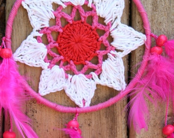 Small Pink Feathers with White Pink & Red Crochet Dream Catcher