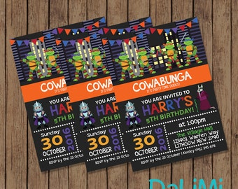 5 x 7 inch Superhero Party Invitation - Ninja Birthday Invitation - Turtle Invitation - Ninja Turtle Printable Invitation!