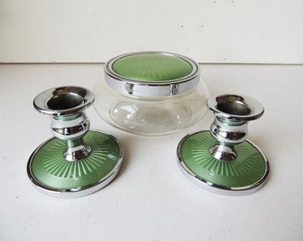 Pair Candle Holders and Glass Bowl with Lid Green Set
