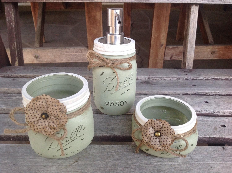 mason jar bathroom set rustic mason jars painted mason jars. Black Bedroom Furniture Sets. Home Design Ideas
