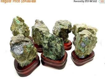 10% off Xmas in July Natural Emerald - Natural Raw Emerald on Wooden Base - Real Emerald from Brazil  (RK25)