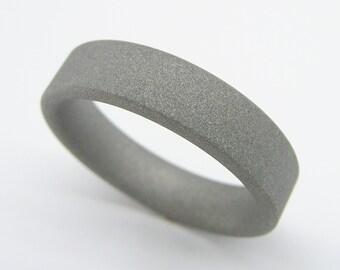 Sandblasted Matte Gray Titanium Wedding Ring