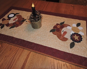 "Large Appliqued Quilted Table Runner with Two Prim Snow Ladies    38"" x 20"""