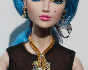 "OOAK jewelry set for 16"" Tonner dolls, Tulabelle, Sybarites, Poppy Parker Fashion Teen"