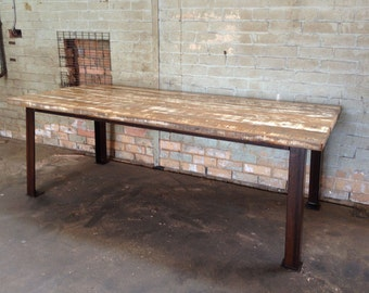 industrial dining table, rustic dining table, industrial table, restaurant table, cafe table