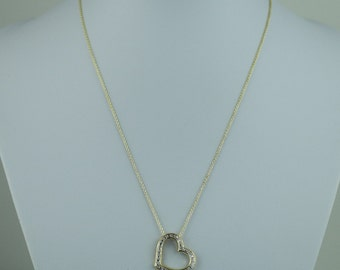 Stunning 18KT Gold Over sterling silver diamond accent Heart pendant on chain