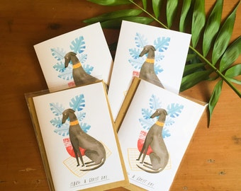 SALE - Greyhound A6 Greeting Card 'Have a Greyt Day'