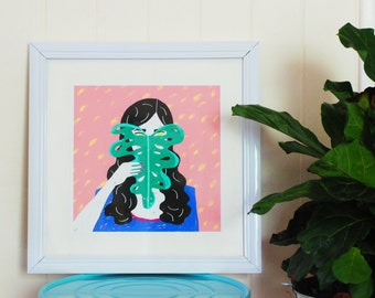Monstera Monster art print - 30cm x 30cm