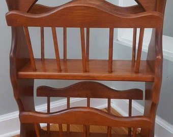 Mid Century Magazine Rack Holder Tall Wood Vintage