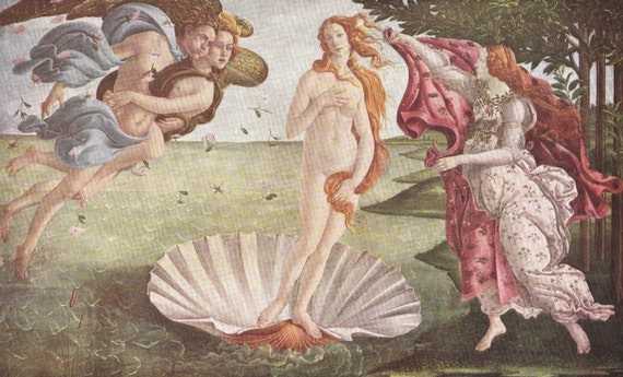 1939 print of The Birth of Venus by Sandro Botticelli (1445 - 1510), Italian, published in World Famous Paintings, semi gloss print